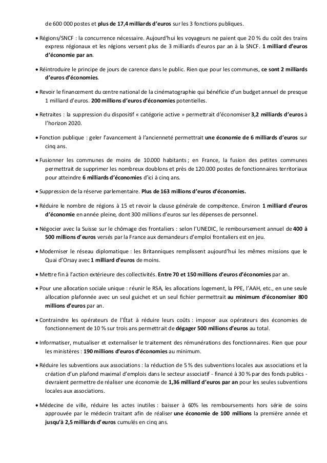 de 600 000 postes et plus de 17,4 milliards d'euros sur les 3 fonctions publiques.  Régions/SNCF : la concurrence nécessa...