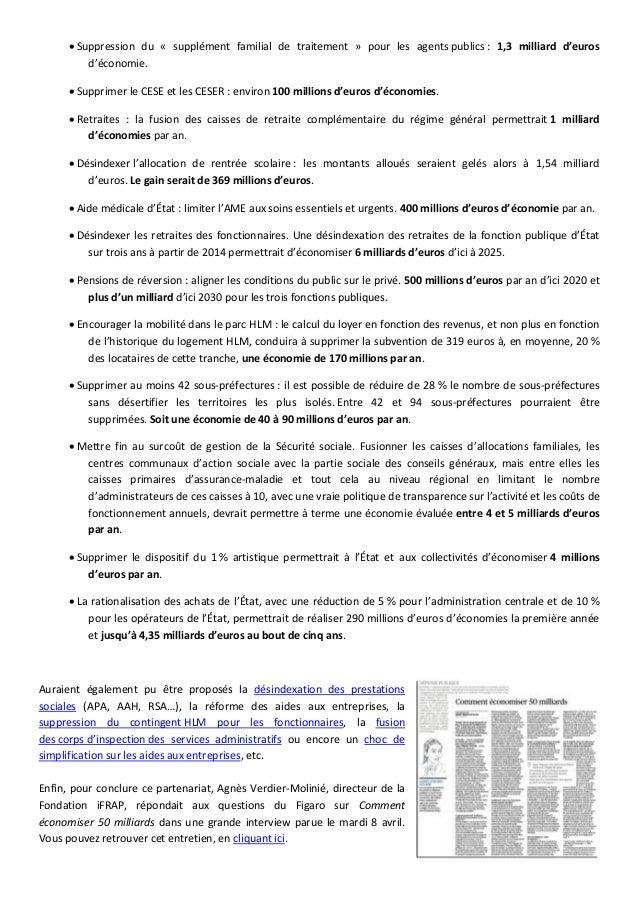  Suppression du « supplément familial de traitement » pour les agents publics : 1,3 milliard d'euros d'économie.  Suppri...
