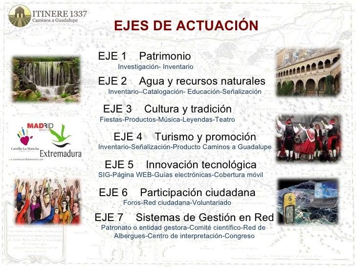 EJES DE ACTUACIÓN  EJE 1  Patrimonio Investigación- Inventario EJE 2  Agua y recursos naturales Inventario–Catalogación- ...