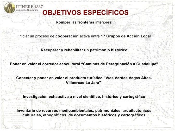 OBJETIVOS ESPECÍFICOS Romper  las  fronteras  interiores.  Iniciar un proceso de  cooperación  activa entre  17 Grupos de...