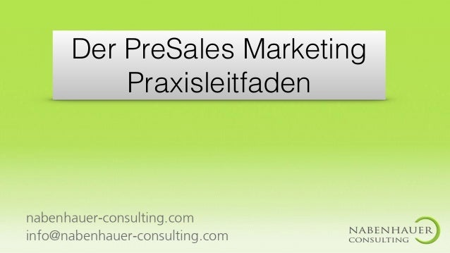 Der PreSales Marketing Praxisleitfaden