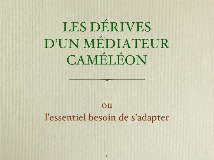 LES DÉRIVES D'UN  MÉDIATEUR CAMÉLÉON <ul><li>ou </li></ul><ul><li>l'essentiel besoin de s'adapter </li></ul>