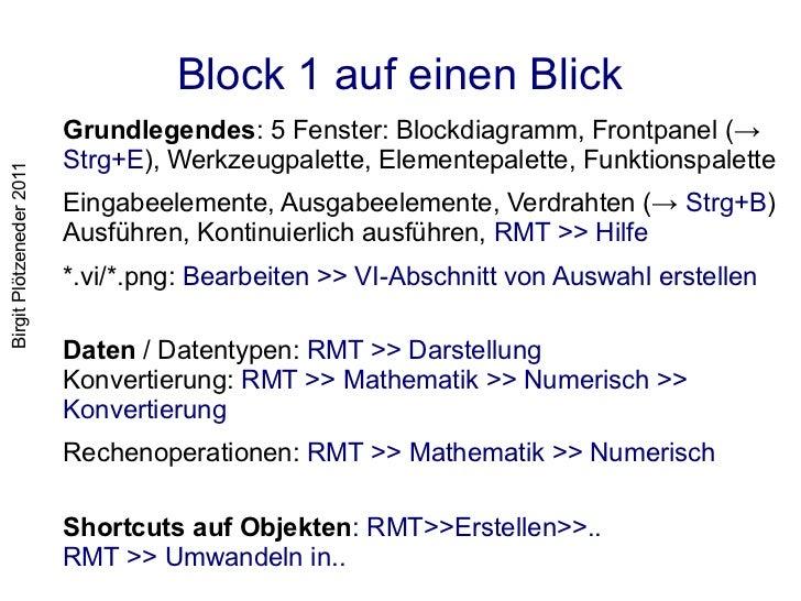 Block 1 auf einen Blick                          Grundlegendes: 5 Fenster: Blockdiagramm, Frontpanel (→                   ...