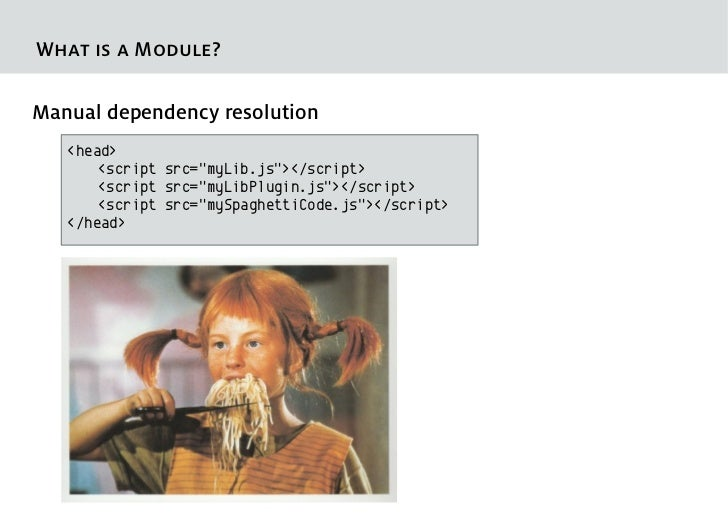 """What is a Module?Manual dependency resolution   <head>       <script src=""""myLib.js""""></script>       <script src=""""myLibPlug..."""