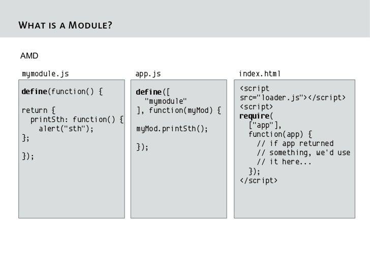 What is a Module?AMDmymodule.js                app.js                 index.htmldefine(function() {        define([       ...