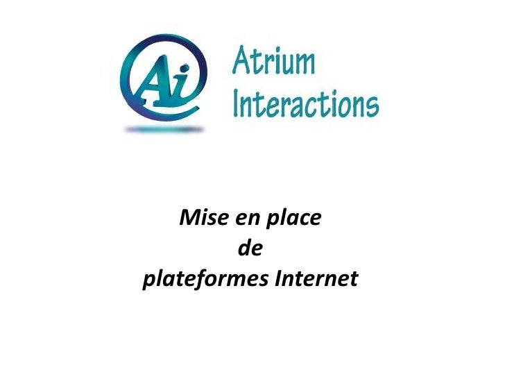 Mise en place <br />de <br />plateformes Internet<br />
