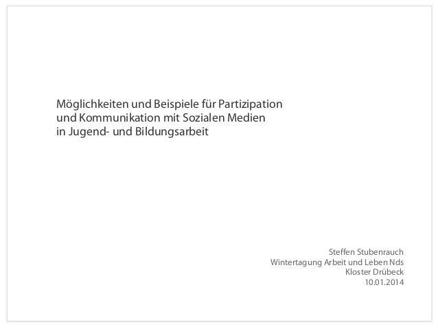 Möglichkeiten und Beispiele für Partizipation und Kommunikation mit Sozialen Medien in Jugend- und Bildungsarbeit  Steffen...