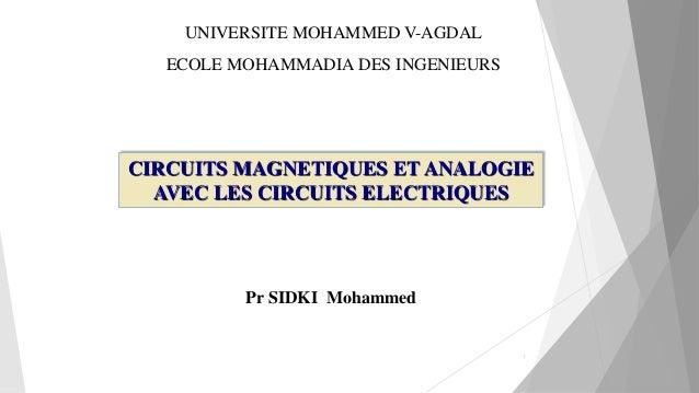 1 CIRCUITS MAGNETIQUES ET ANALOGIE AVEC LES CIRCUITS ELECTRIQUES Pr SIDKI Mohammed UNIVERSITE MOHAMMED V-AGDAL ECOLE MOHAM...