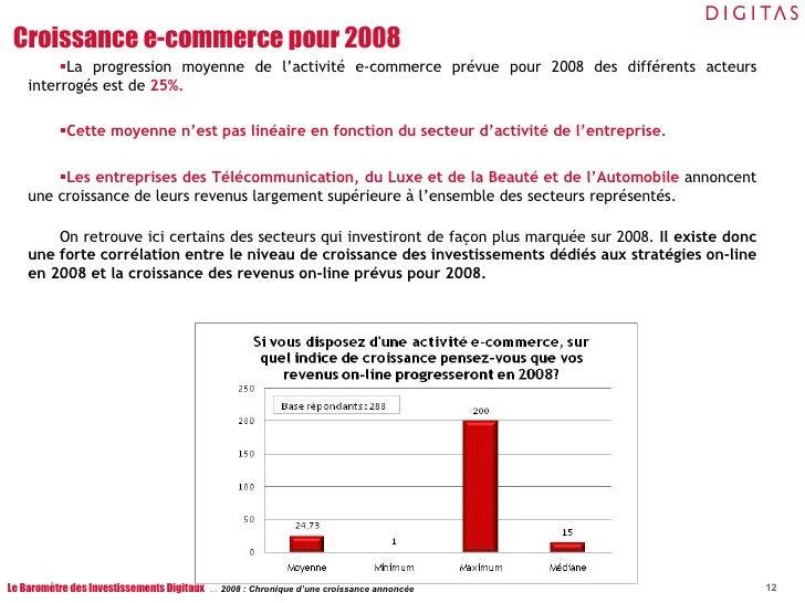 <ul><li>La progression moyenne de l'activité e-commerce prévue pour 2008 des différents acteurs interrogés est de  25%. </...