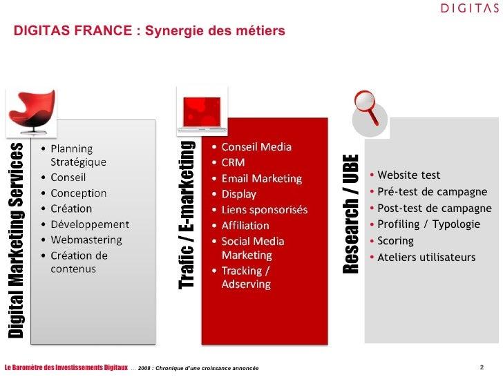 DIGITAS FRANCE : Synergie des métiers Le Baromètre des Investissements Digitaux  …  2008 : Chronique d'une croissance anno...