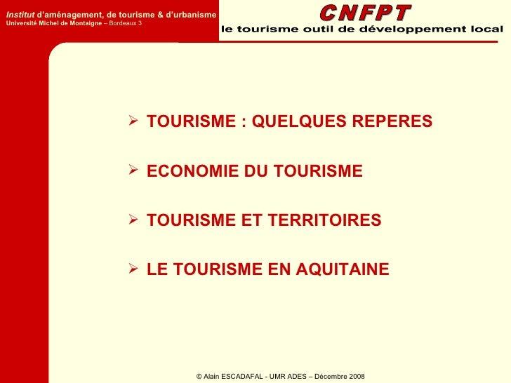 Institut d'aménagement, de tourisme & d'urbanisme Université Michel de Montaigne – Bordeaux 3                             ...