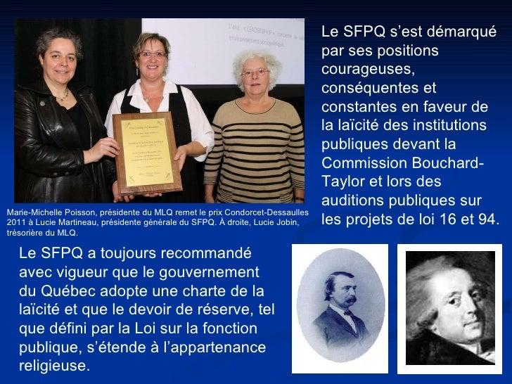 Marie-Michelle Poisson, présidente du MLQ remet le prix Condorcet-Dessaulles  2011 à Lucie Martineau, présidente générale ...