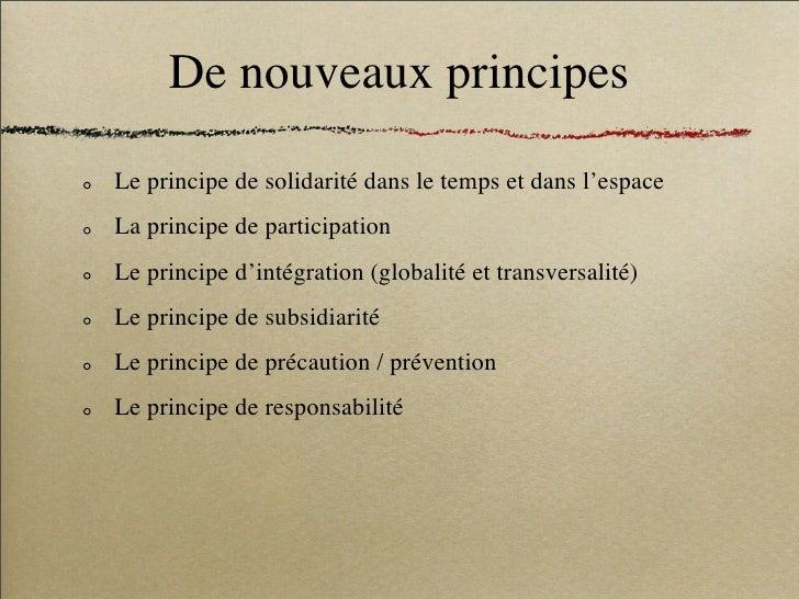 De nouveaux principes  Le principe de solidarité dans le temps et dans l'espace La principe de participation Le principe d...