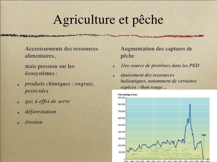 Agriculture et pêche Accroissements des ressources   Augmentation des captures de alimentaires,                   pêche ma...