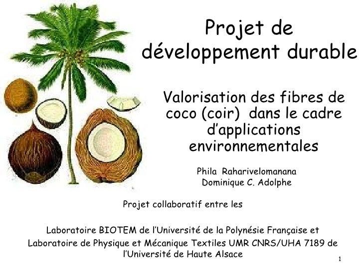 Projet de développement durable<br />Valorisation des fibres de coco (coir)  dans le cadre d'applications environnementale...