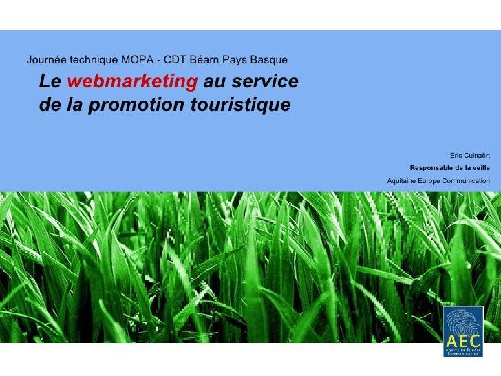 Journée technique MOPA - CDT Béarn Pays Basque Le  webmarketing  au service de la promotion touristique  Eric Culnaërt Res...