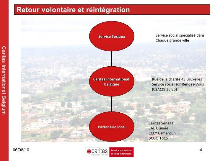 Retour volontaire et réintégration Caritas International Belgium Rue de la charité 43 Bruxelles Service social sur Rendez-...