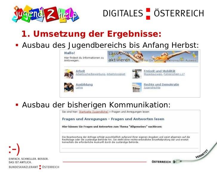 1. Umsetzung der Ergebnisse:§Ausbau des Jugendbereichs bis Anfang Herbst:§Ausbau der bisherigen Kommunikation: