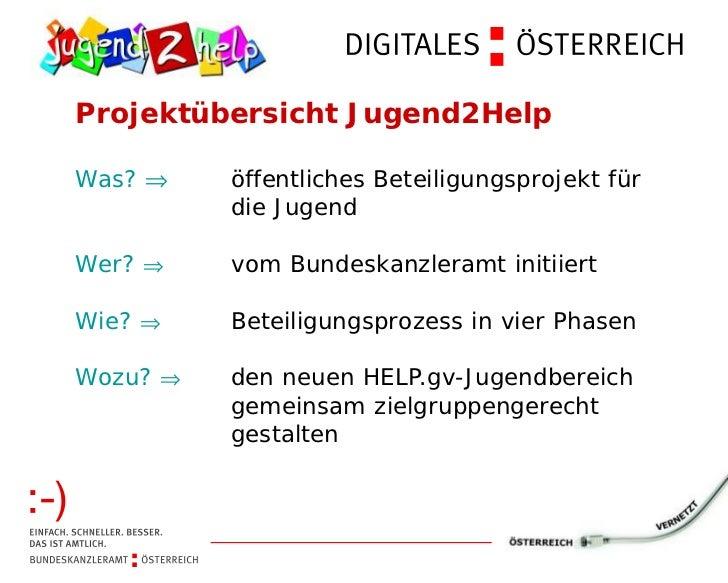 Projektübersicht Jugend2HelpWas? ⇒öffentliches Beteiligungsprojekt für      die JugendWer? ⇒ Bundeskanzleramt initiiert   ...