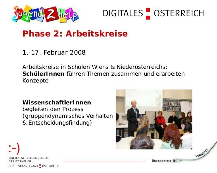 Phase 2: Arbeitskreise1.-17. Februar 2008Arbeitskreise in Schulen Wiens & Niederösterreichs:SchülerInnen führen Themen zus...