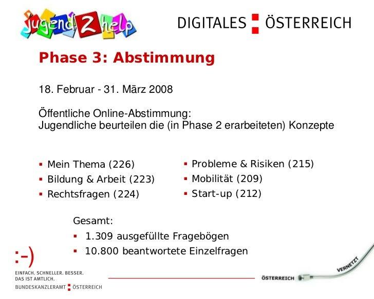Phase 3: Abstimmung18. Februar - 31. März 2008Öffentliche Online-Abstimmung:Jugendliche beurteilen die (in Phase 2 erarbei...