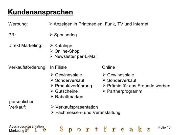 Kundenansprachen <ul><li>Anzeigen in Printmedien, Funk, TV und Internet </li></ul>Werbung: PR: Direkt Marketing: Verkaufsf...