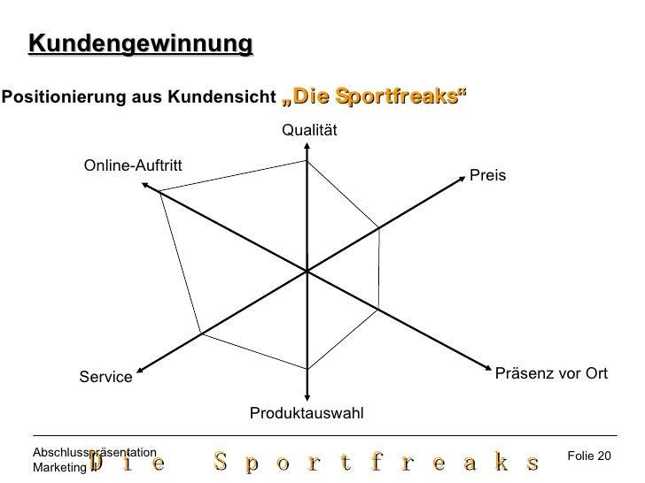 """Kundengewinnung Positionierung aus Kundensicht  """"Die Sportfreaks"""" Qualität Preis Präsenz vor Ort Produktauswahl Service On..."""
