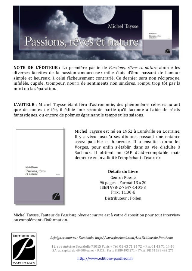Présentation Passions Rêves Et Nature De Michel Taysse