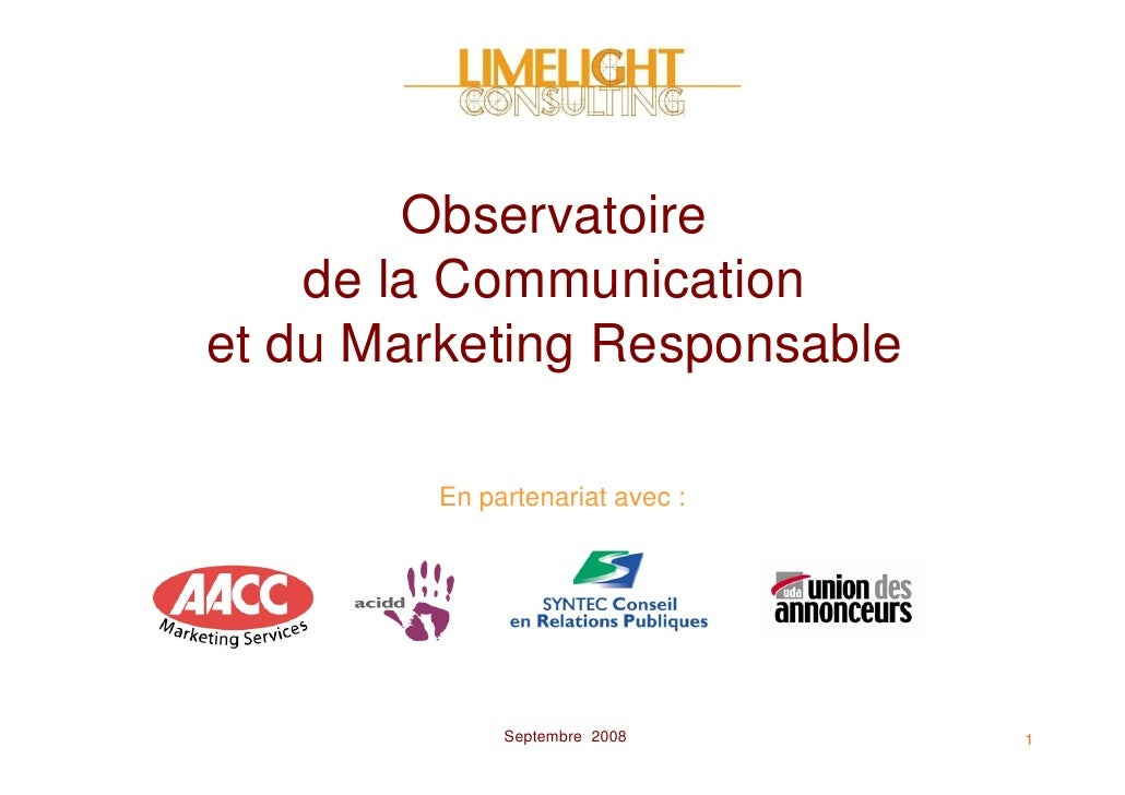 Observatoire     de la Communication et du Marketing Responsable           En partenariat avec :                   Septemb...