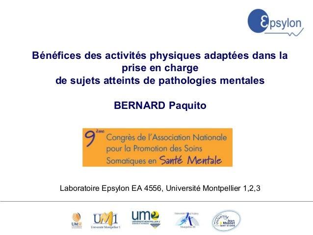 XXXX XX Bénéfices des activités physiques adaptées dans la prise en charge de sujets atteints de pathologies mentales BERN...