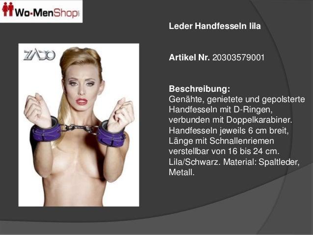 Leder Handfesseln lila  Artikel Nr. 20303579001  Beschreibung:  Genähte, genietete und gepolsterte  Handfesseln mit D-Ring...