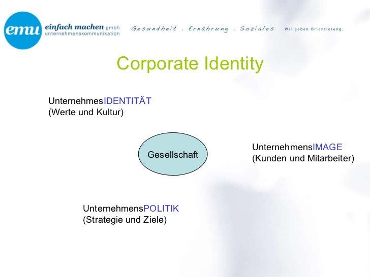 Corporate Identity Unternehmes IDENTITÄT (Werte und Kultur) Unternehmens POLITIK (Strategie und Ziele) Unternehmens IMAGE ...