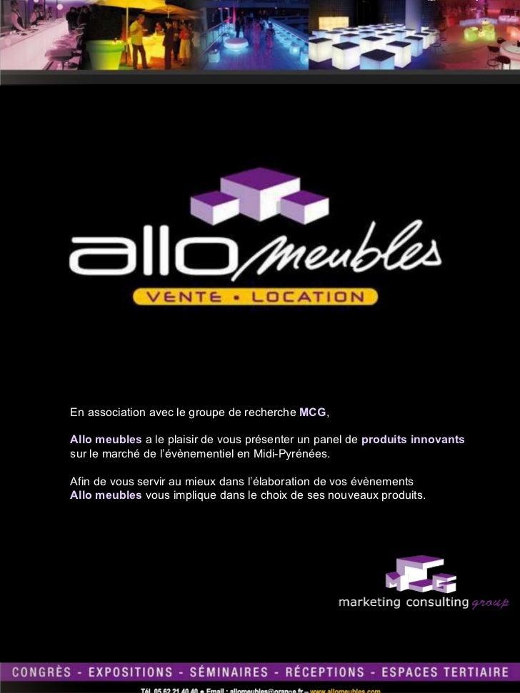 En association avec le groupe de recherche  MCG ,  Allo meubles  a le plaisir de vous présenter un panel de  produits inno...