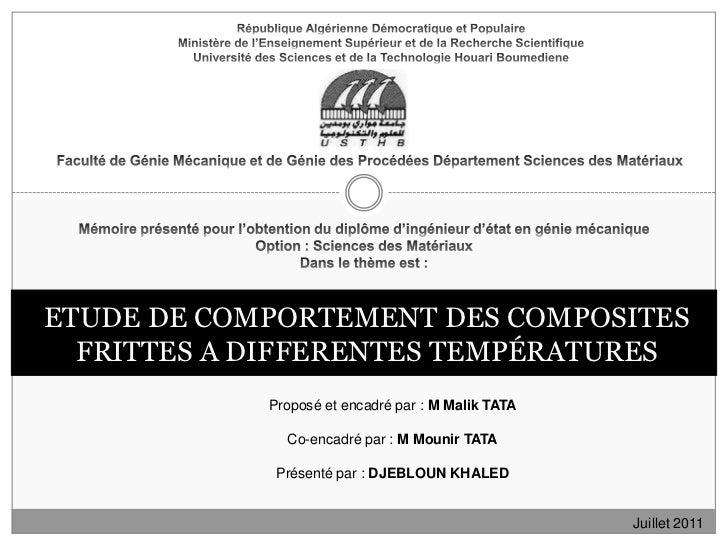 République Algérienne Démocratique et PopulaireMinistère de l'Enseignement Supérieur et de la Recherche ScientifiqueUniver...