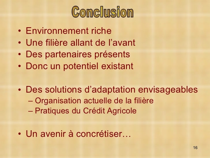 <ul><li>Environnement riche </li></ul><ul><li>Une filière allant de l'avant </li></ul><ul><li>Des partenaires présents </l...