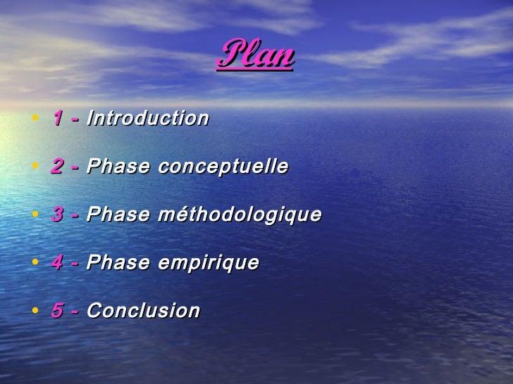 Plan• 1 - Introduction• 2 - Phase conceptuelle• 3 - Phase méthodologique• 4 - Phase empirique• 5 - Conclusion