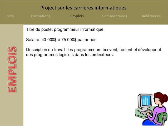 Projet sur les carrières en informatique Slide 2