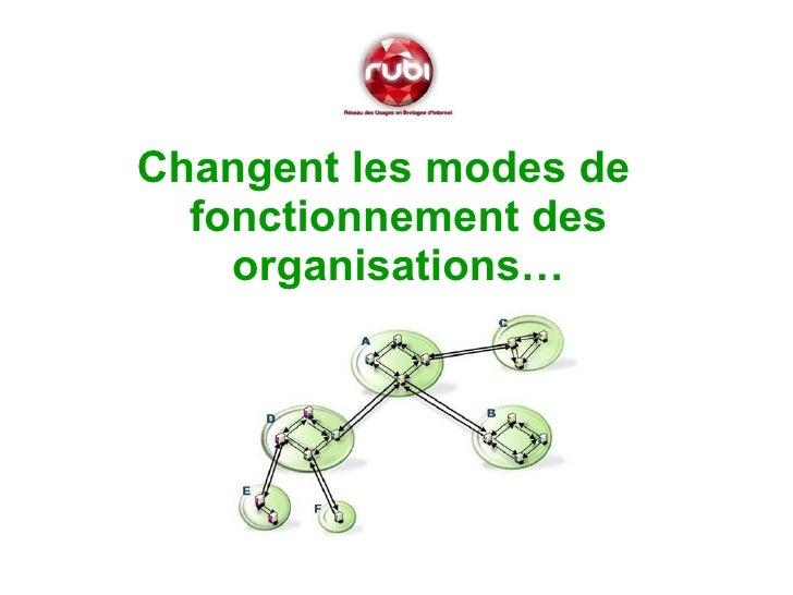 <ul><li>Changent les modes de fonctionnement des organisations… </li></ul>
