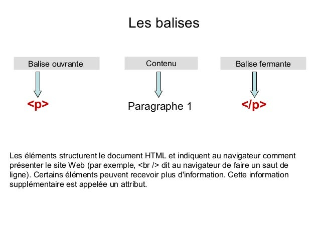 Les balises Balise ouvrante  <p>  Contenu  Paragraphe 1  Balise fermante  </p>  Les éléments structurent le document HTML ...