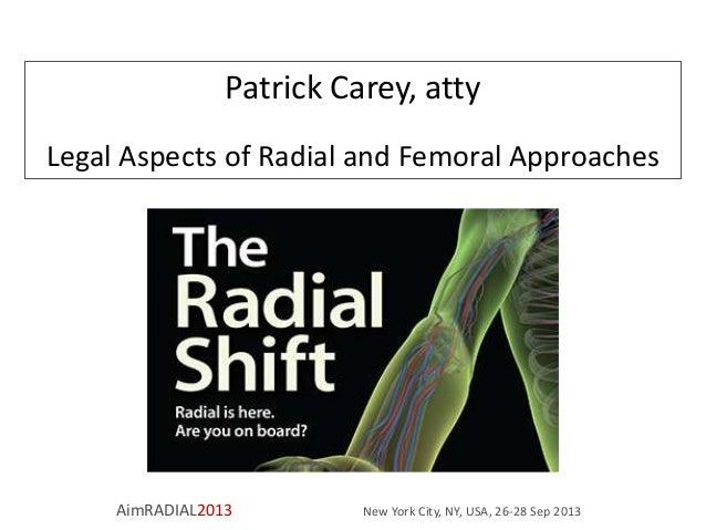 Patrick Carey, atty Legal Aspects of Radial and Femoral Approaches  AimRADIAL2013  New York City, NY, USA, 26-28 Sep 2013