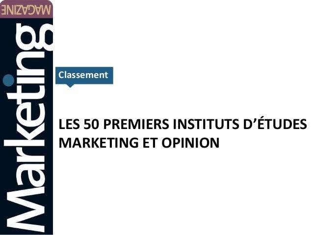 Classement  LES 50 PREMIERS INSTITUTS D'ÉTUDES MARKETING ET OPINION