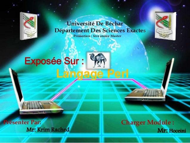 Université De Béchar Département Des Sciences Exactes Promotion : 1ère année Master  Exposée Sur :  Langage Perl  Présente...