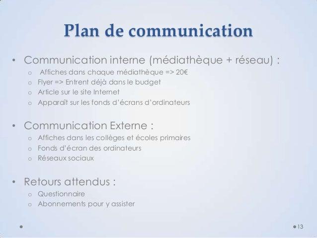 Plan de communication • Communication interne (médiathèque + réseau) : o Affiches dans chaque médiathèque => 20€ o Flyer =...