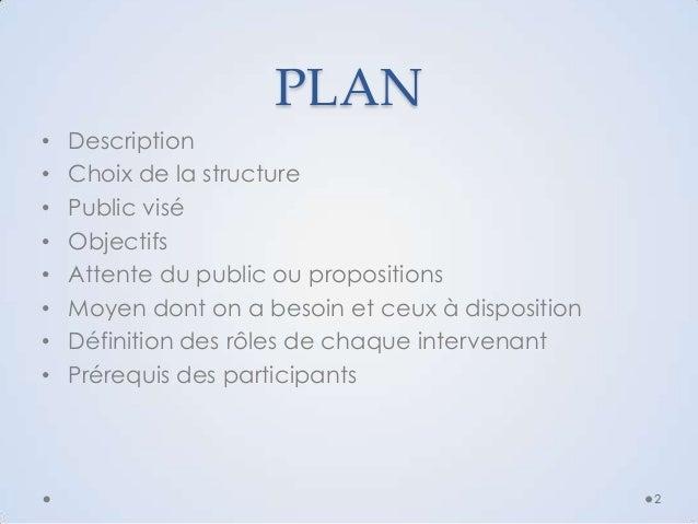 PLAN • • • • • • • •  Description Choix de la structure Public visé Objectifs Attente du public ou propositions Moyen dont...