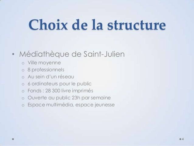 Choix de la structure • Médiathèque de Saint-Julien o o o o o o o  Ville moyenne 8 professionnels Au sein d'un réseau 6 or...