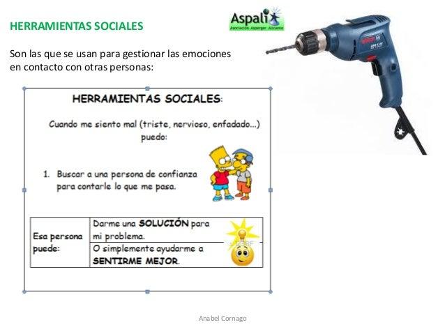 HERRAMIENTAS SOCIALES  Son las que se usan para gestionar las emociones  en contacto con otras personas:  Anabel Cornago