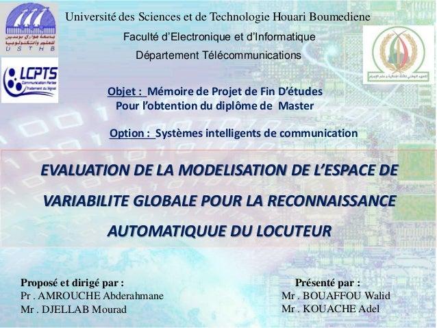 Université des Sciences et de Technologie Houari Boumediene Faculté d'Electronique et d'Informatique Département Télécommu...