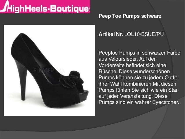 Peep Toe Pumps schwarz Artikel Nr. LOL10/BSUE/PU Peeptoe Pumps in schwarzer Farbe aus Veloursleder. Auf der Vorderseite be...