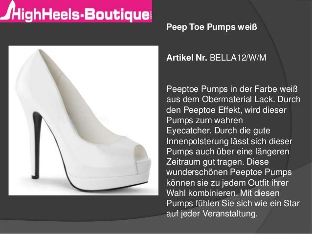 Peep Toe Pumps weiß Artikel Nr. BELLA12/W/M Peeptoe Pumps in der Farbe weiß aus dem Obermaterial Lack. Durch den Peeptoe E...