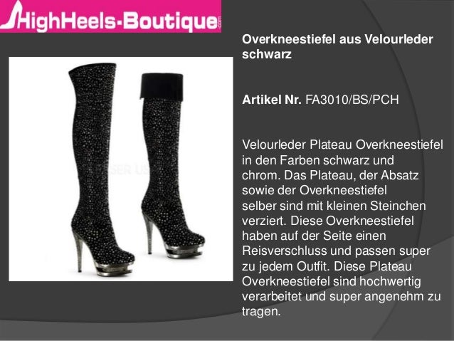 Overkneestiefel aus Velourleder schwarz Artikel Nr. FA3010/BS/PCH Velourleder Plateau Overkneestiefel in den Farben schwar...